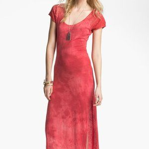 Free People Lace Detail Maxi Dress Red Orange S